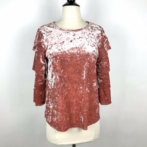 Ces Femme Crushed Velvet Pink Top  Layered Sleeves